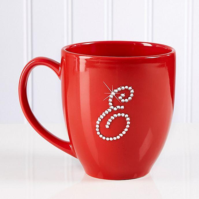 Alternate image 1 for Rhinestone Monogram 14.5 oz. Red Bistro Mug