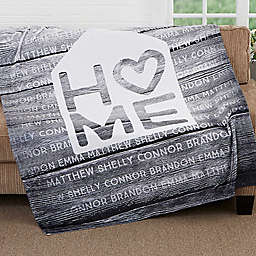 Home is Love 50-Inch x 60-Inch Fleece Throw Blanket