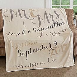 Mr. & Mrs. 50-Inch x 60-Inch Fleece Throw Blanket
