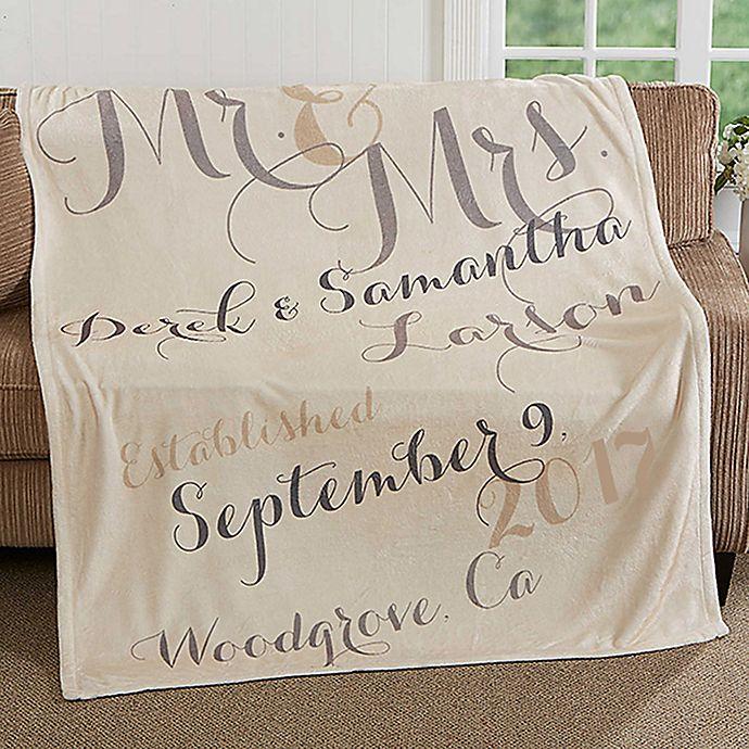 Alternate image 1 for Mr. & Mrs. 50-Inch x 60-Inch Fleece Throw Blanket