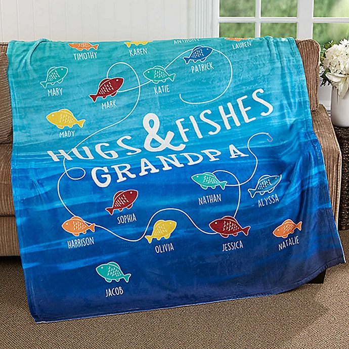 Alternate image 1 for Hugs & Fishes 50-Inch x 60-Inch Fleece Throw Blanket