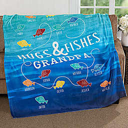 Hugs & Fishes 50-Inch x 60-Inch Fleece Throw Blanket