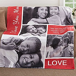 Family Love Photo Collage 50-Inch x 60-Inch Fleece Throw Blanket