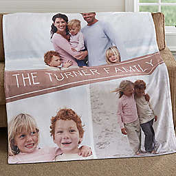 Family Photo Collage 50-Inch x 60-Inch Fleece Throw Blanket