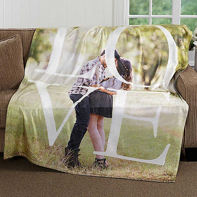 Alternate image 1 for LOVE Photo 50-Inch x 60-Inch Fleece Throw Blanket