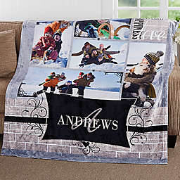 Family Photo Memories 50-Inch x 60-Inch Fleece Throw Blanket