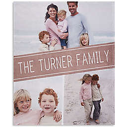 Family Photo Collage Throw Blanket in Black