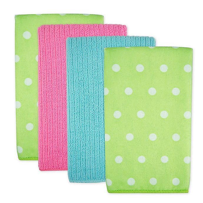Alternate image 1 for Design Imports Dots Microfiber Kitchen Towels in Green (Set of 4)