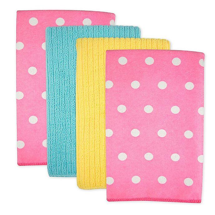 Alternate image 1 for Design Imports Dots Microfiber Kitchen Towels in Pink (Set of 4)