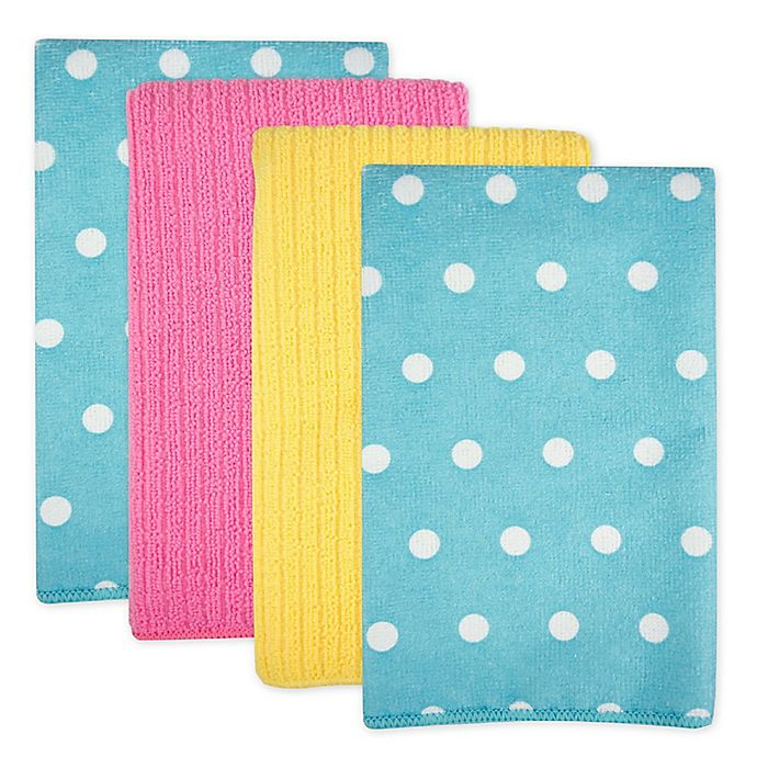 Alternate image 1 for Design Imports Dots Microfiber Kitchen Towels in Blueberry (Set of 4)
