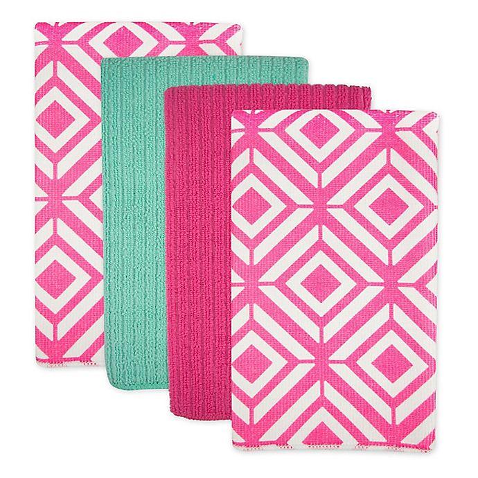 Alternate image 1 for Design Imports Diamond Microfiber Kitchen Towels in Pink (Set of 4)