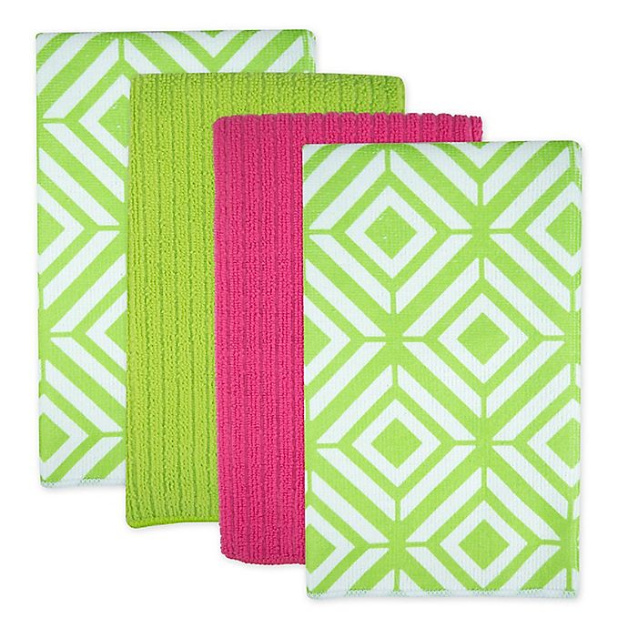 Alternate image 1 for Design Imports Diamond Microfiber Kitchen Towels in Green (Set of 4)