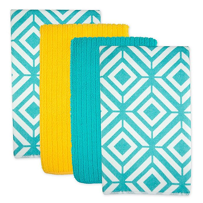 Alternate image 1 for Design Imports Diamond Microfiber Kitchen Towels in Teal (Set of 4)