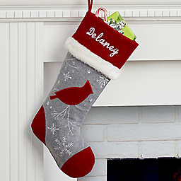 Wreath Wintertime Wishes Cardinal Christmas Stocking