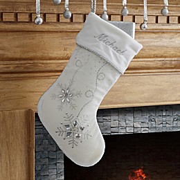 Season's Sparkle Embroidered Christmas Stocking