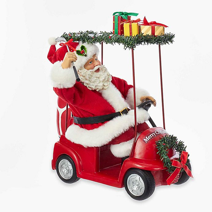 kurt adler 1125 inch fabrich santa driving golf cart
