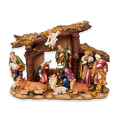Kurt Adler 10-Piece Resin Nativity Set with Stable