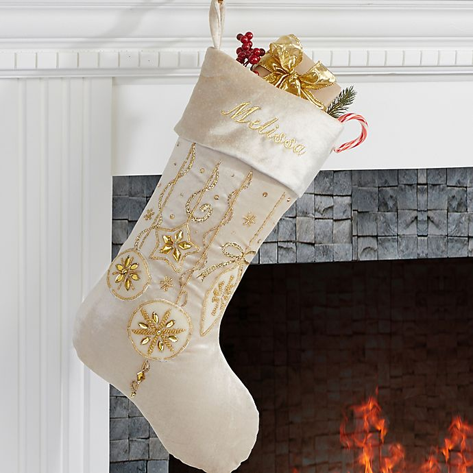 Embroidered Christmas Stockings.Yuletide Gold Jeweled Velvet Embroidered Christmas Stocking
