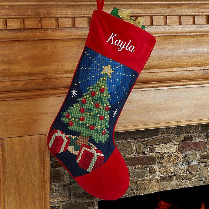 Needlepoint Christmas Stockings.Christmas Tree Needlepoint Christmas Stocking Bed Bath And