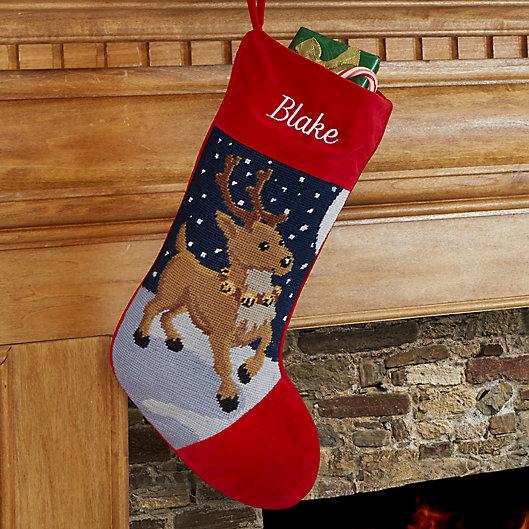 Alternate image 1 for Reindeer Needlepoint Christmas Stocking