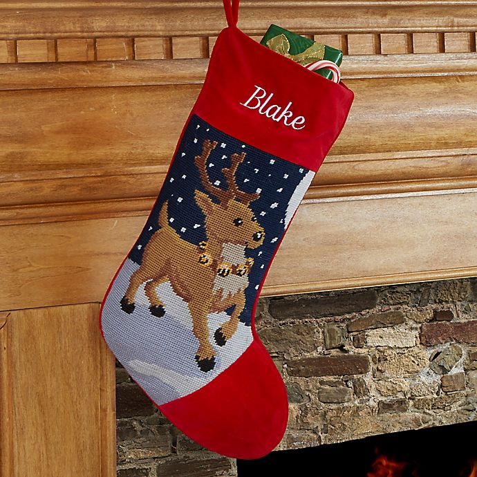 Needlepoint Christmas Stockings.Reindeer Needlepoint Christmas Stocking