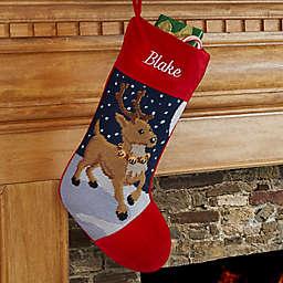 Reindeer Needlepoint Christmas Stocking