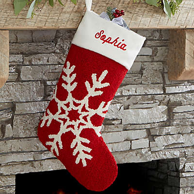 Snowflake Hooked Christmas Stocking