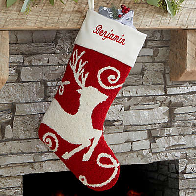 Reindeer Hooked Christmas Stocking