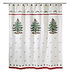 Avanti Spode Tree Shower Curtain in Red
