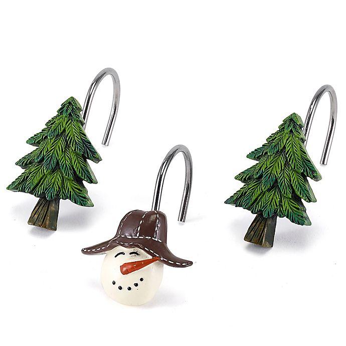 Alternate image 1 for Avanti Snowmen Gathering Shower Curtain Hooks (Set of 12)