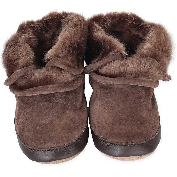 Alternate image 1 for Robeez® Soft Soles™ Cozy Ankle Bootie in Brown