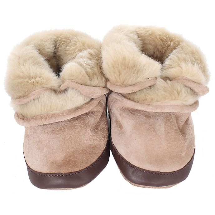 Alternate image 1 for Robeez® Soft Soles™ Size 12-24M Cozy Ankle Bootie in Taupe