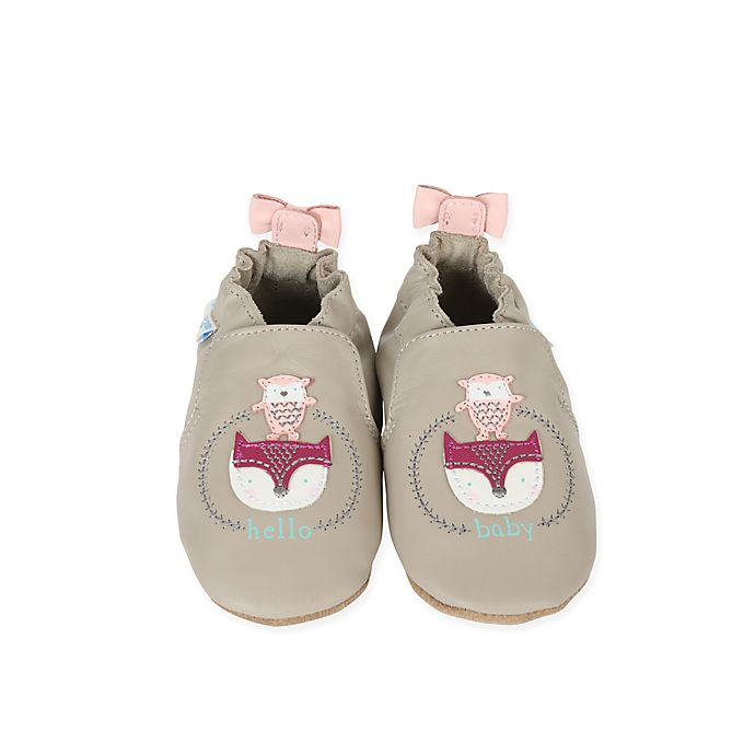 Alternate image 1 for Robeez® Soft Sole Hello Baby Friends Shoe in Grey