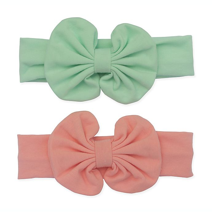 Alternate image 1 for So' Dorable 2-Pack Knit Bow Headwraps in Coral/Mint