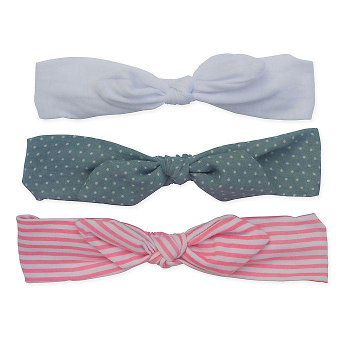 Alternate image 1 for So' Dorable 3-Pack Baby Bow Headbands in Pink Stripe/White/Denim