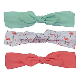 So'dorable 3-Pack Baby Bow Headband in Mint/White Flamingo/Coral