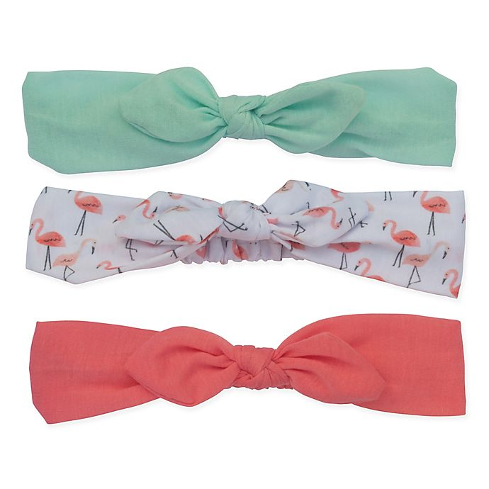 Alternate image 1 for So'dorable 3-Pack Baby Bow Headband in Mint/White Flamingo/Coral