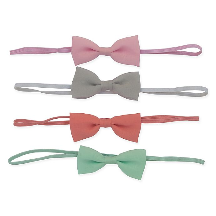 Alternate image 1 for So'dorable 4-Pack Baby Bow Headband in Pink /Grey/Coral/Mint
