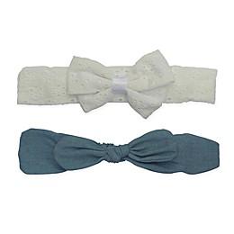 So'dorable 2-Pack Eyelet and Denim Bow Headband in Ivory/Denim