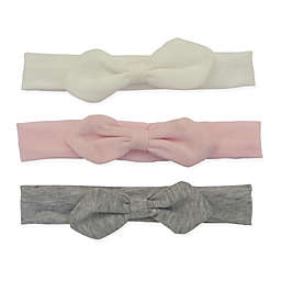 So' Dorable 3-Pack Soft Cotton Knit Bow Headands in Pink/Grey