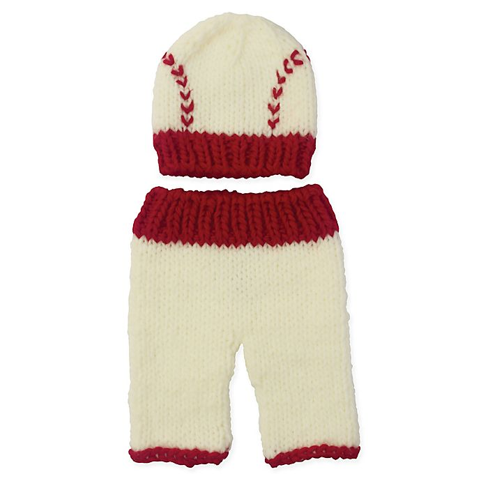 Alternate image 1 for So' Dorable Size 0-3M 2-Piece Baseball Chunky Knit Hat and Pants Set in White/Red