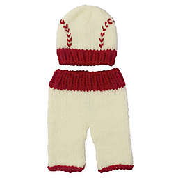 So' Dorable Size 0-3M 2-Piece Baseball Chunky Knit Hat and Pants Set in White/Red