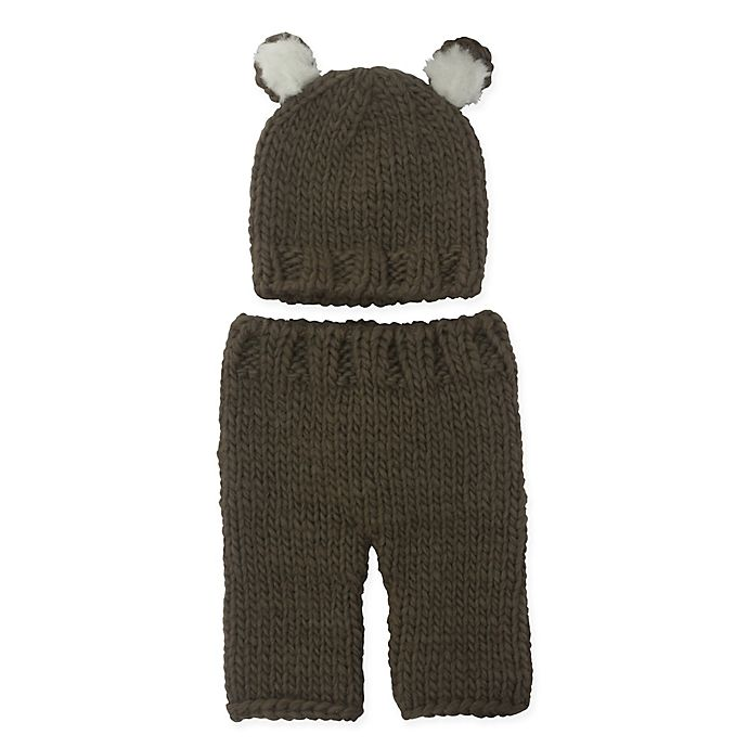 Alternate image 1 for So' Dorable Size 0-3M 2-Piece Bear Chunky Knit Hat and Pants Set in Brown