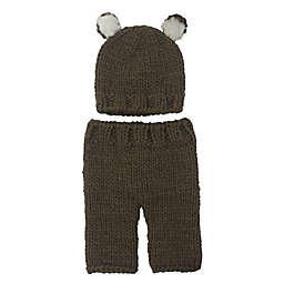 So'dorable Size 0-3M 2-Piece Bear Chunky Knit Hat and Pants Set in Brown