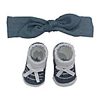 So'dorable Size 0-6M 2-Piece Denim Knot Headband and Bootie Set in Blue/White