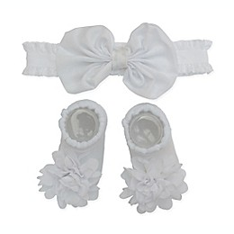 So'dorable Size 0-6M 2-Piece Microfiber Chiffon Flower Headband and Bootie Set in White