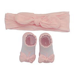 So'dorable Size 0-6M 2-Piece Microfiber Bow Headband and Bootie Set in Pink