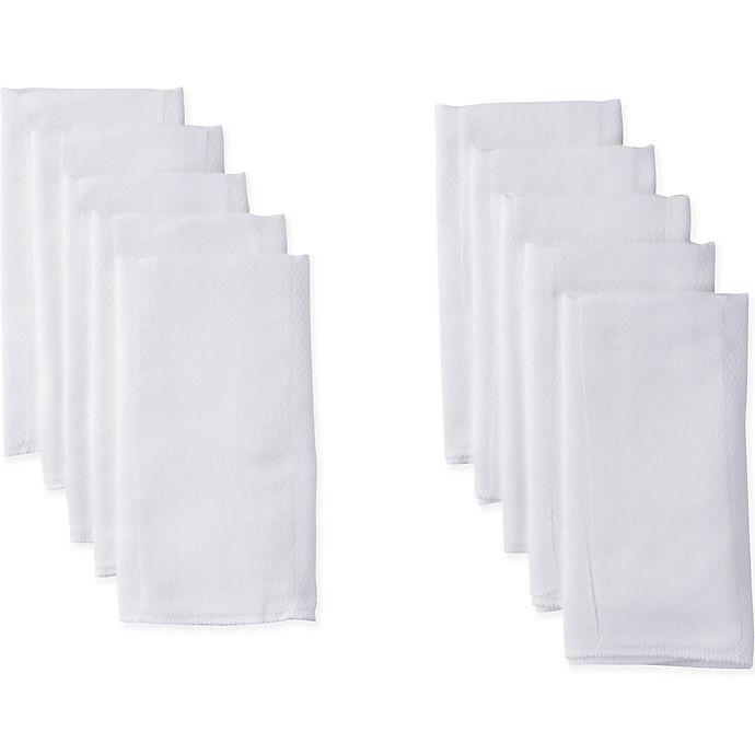 Alternate image 1 for Gerber® 10-Pack Birdseye Prefold Cloth Diaper in White