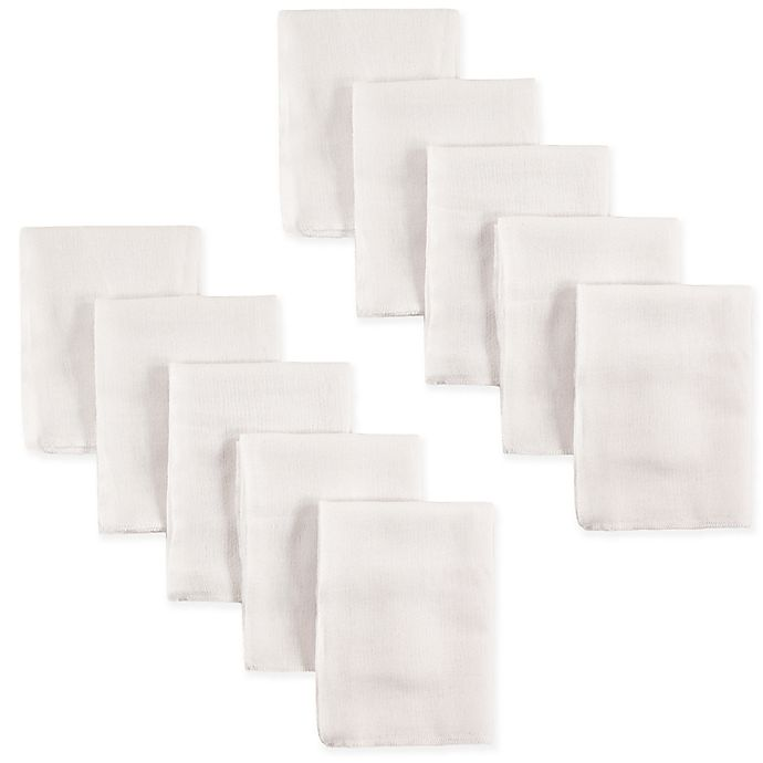 Alternate image 1 for Luvable Friends 10-Pack Flat Fold Cloth Diaper in White