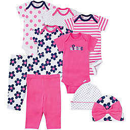 Gerber® 9-Piece Flower and Dot Bodysuit, Pant, and Hat Set in Pink